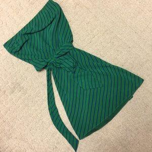 EXPRESS strapless green satiny dress
